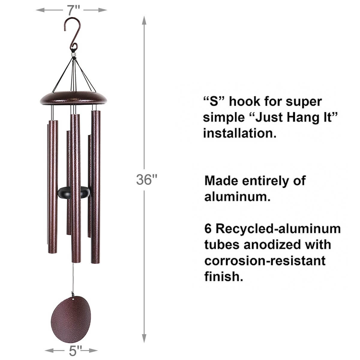 Agirlgle Large Metal funeral Wind Chimes